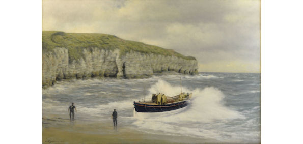 "WALTER GOODIN ""Flamborough Lifeboat"" Oil on Board"