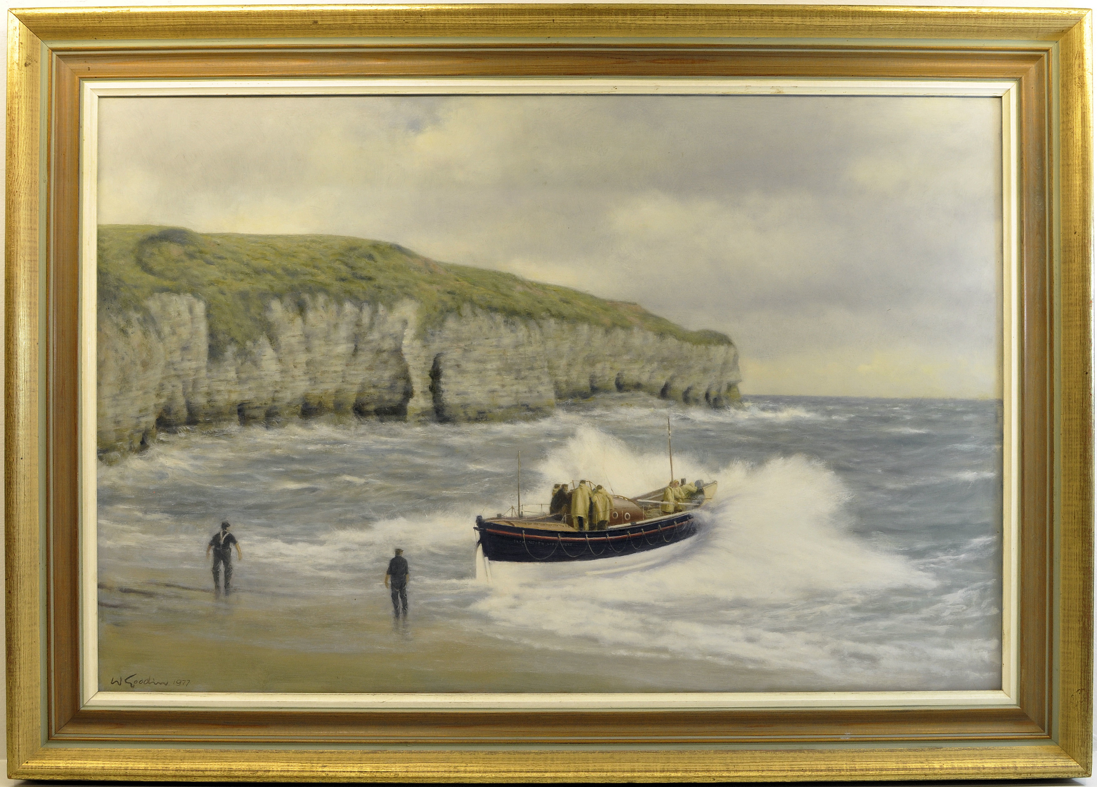 "WALTER GOODIN (1907-1992); ""The Launch of the Flamborough Lifeboat"", Oil on Board"