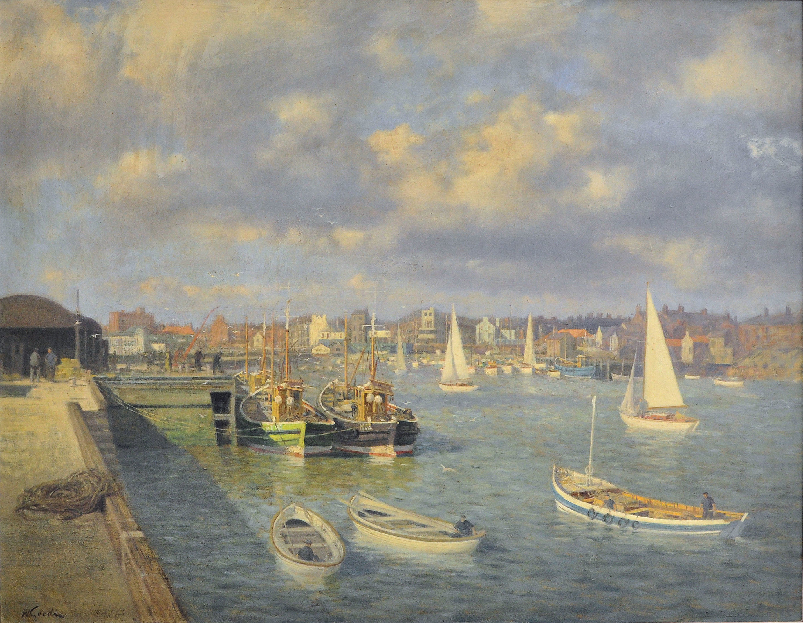 "WALTER GOODIN (1907-1992); Bridlington Harbour with fishing cobles, sailing boats and figures on the quayside, Oil on Board, signed. 28 1/4"" (72cms) x 36 1/2"" (92cms)."