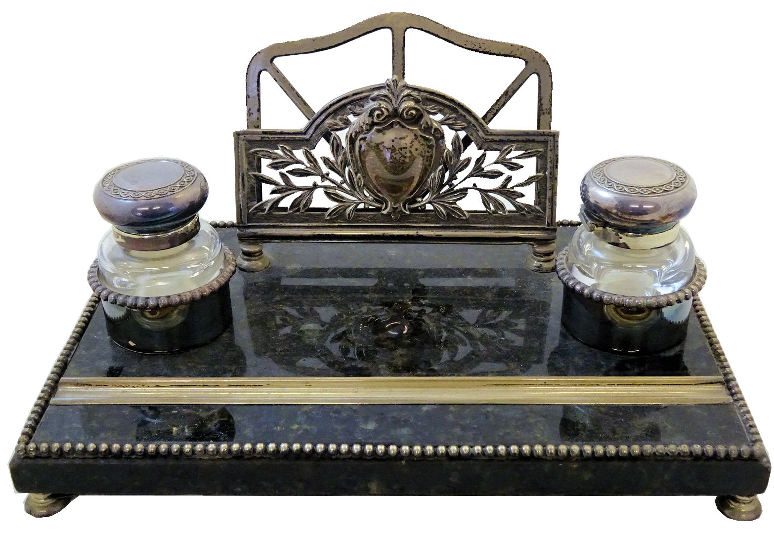 Continental hard stone and silver mounted desk Inkstand