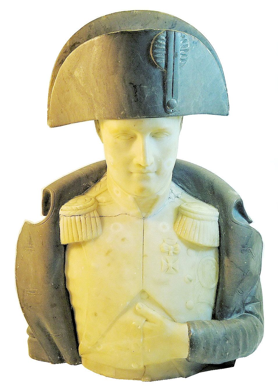 two colour marble Bust in grey and white of Napoleon in characteristic pose, inscribed on the reverse 'Prof A Goi, Venezia'